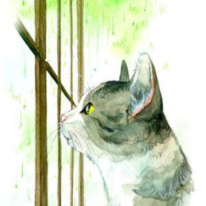「窓の外の雨を眺める猫の横顔」