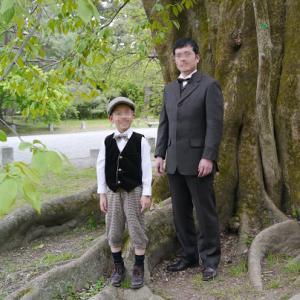 桜と鴛鴦の訪問着で、京都御苑へ
