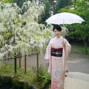 花籠文様の訪問着で、春日大社萬葉植物園へ