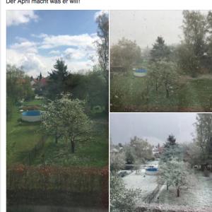 4月の異常気象?!Es ist Abnormales Wetter in April?!雪やヒョウが降った!