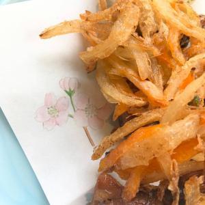 おうちご飯・ホタルイカと新玉葱のかき揚げ