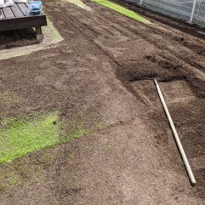 芽吹き時期に合わせて土壌改良と不陸調整です