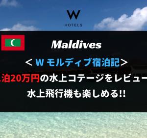 【無料宿泊】Wモルディブ宿泊記。1泊20万円の水上バンガローに超絶アップグレード!