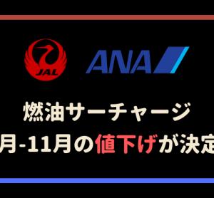 【吉報】燃油サーチャージ19年10月〜11月発券分は1段階値下げ!最大10,500円へ