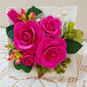 クレイでつくるバラのアレンジメント( 自宅教室:生徒さんのレッスン作品♪ )