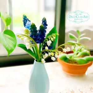 クレイでつくる春の花々♪ ( 門司教室:生徒さんのレッスン作品 )