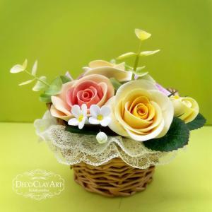 クレイてつくるバラやお野菜♪ ( 自宅教室:生徒さんのレッスン作品 )クレイクラフト