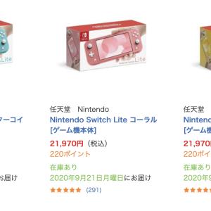ビックカメラ.com「Nintendo Switch Lite 各色 」通常販売在庫あり