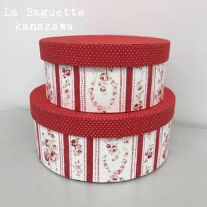 赤色の花柄 丸箱2個セット