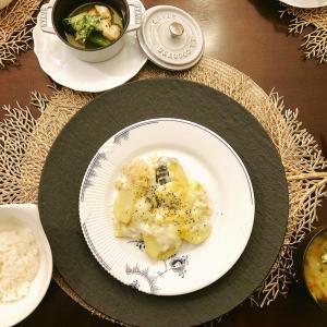 鱈のポテトグラタンと海老とブロッコリーのアヒージョ
