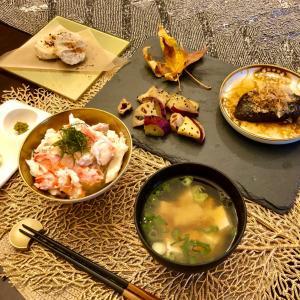 絶品〜♡お家で蟹丼と秋の味覚御膳!