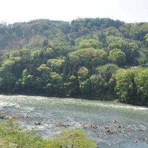 春 千曲がる川のスケッチ
