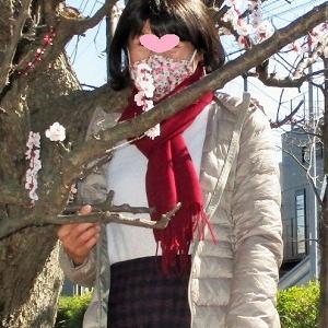 花柄マスクをして梅見に行きました