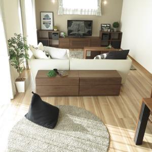 ソファの背面にTVチェストを提案!?幅86㎝モジュールの家具を入れ替えて使用する家具の配置術