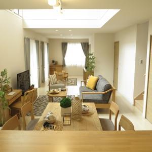 縦長の25.6帖のLDKに家具の配置を2パターン提案しました!どちらの家具の配置が好みですか?