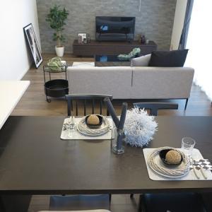 比べてみました!② ややグレーがかったブラウン色の内装に2パターンの家具の色でコーディネート!