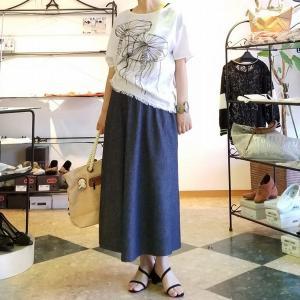 ナチュラルな夏の綿麻デニム フレアースカートバージョン