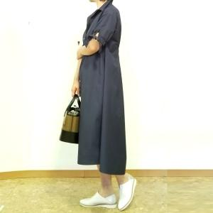 50代からのきちんと可愛い衿付きコットンワンピース