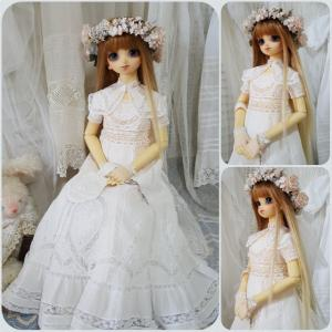 SD少女の為の白糸刺繍ドレス完成!その2
