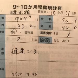 3y5m25d/10m12d   朝はまだダメ。゚(゚´ω`゚)゚ 9.10ヶ月検診!