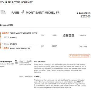 ANAアメックスも利用可能!モン・サン・ミシェルへのTGVとバスの切符は「oui.sncf」で予約したよ!