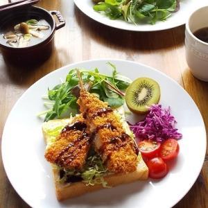 乃が美の「生」食パンで、アジフライのオープンサンド♪