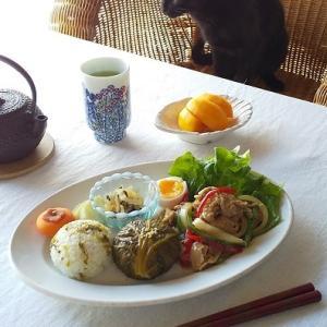 高菜おむすび、豚肉の生姜焼きの和ンプレート♪