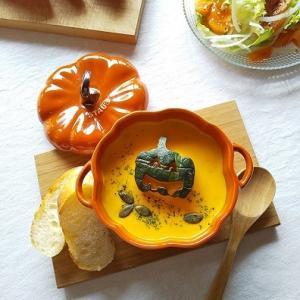 かぼちゃと生姜のポタージュスープ & あさりのハロウィン♪