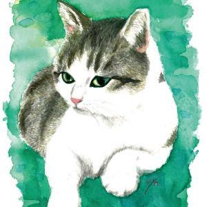 ひさびさの手描き水彩で猫