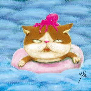 夏はキモ猫も海