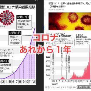 【コロナ】1/15あれから1年どうなって、どう変わるのだろう(^^)大学テストだが