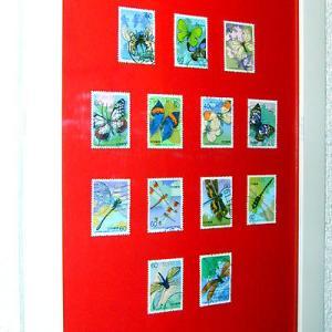 「昆虫シリーズ切手」で作ったリーフ