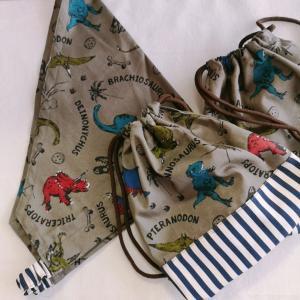 【生徒様作品】恐竜がかっこいい!巾着&三角巾