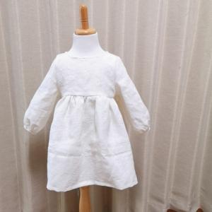 【生徒様作品】初めての子供服は白のリネンで♡