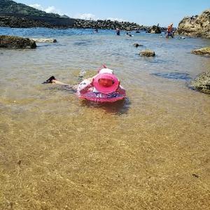 間人漁港の近くで海水浴だよ~