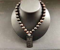 黒檀×黒檀☆厳つさの中に落ち着きを魅せる数珠ネックレス【弁慶】☆