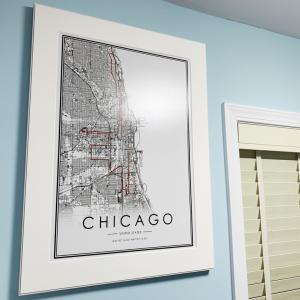 シカゴマラソンコースをハイライトしたシカゴの地図をアートしました。