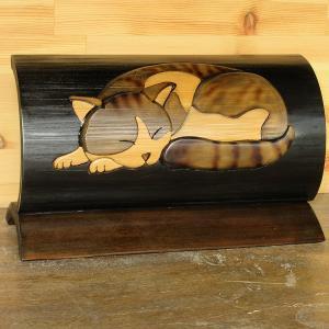 竹クラフト 眠り猫