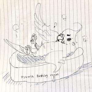 壁に向かって鳴くオカメインコ、ピュオーラ