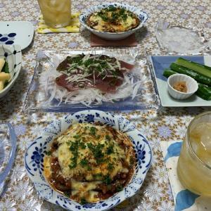 茄子サンドミートソースチーズ焼き☆長芋のわさび醤油漬