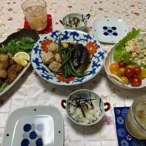 鶏団子とナスの煮物☆鯖の竜田揚げ