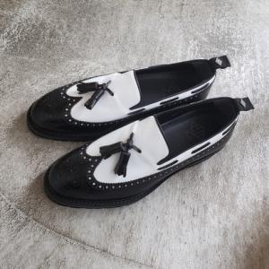 WHダブルエイチ春夏新作靴 コンビカラーのタッセルローファーWH-0502