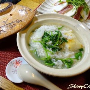 白菜も大量消費!こー見えて残り物でも料理出来るんです with 七草粥(`⌒´)!! えっへん