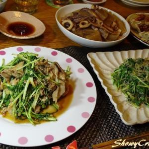 盗んだ水菜をやっと完食!with 豚肉のオイスター炒め(`・ω・´)シャキーン