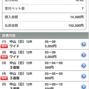 ペキオの【VIP情報】破壊力天井知らず!!中山12R回収率1900%オーバー(2週連続)ww