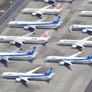 【空撮】緊急事態宣言後の羽田空港、ANAとJAL大型機並ぶ 異常な光景だ❗️