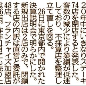 「いきなり!ステーキ」san、年内に74ヶ店を閉店ですか…