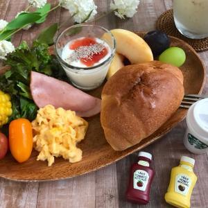 おみやげの美味しいパンでワンプレート朝ごはん☆娘の海外一人旅
