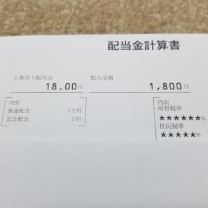 【イオン株の配当金】はじめての配当金は1800円→税引後1435円