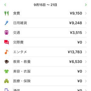 【週間家計簿】9月15日~9月21日